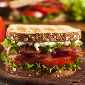 Bacon, lettuce, tomatoes, and mayo