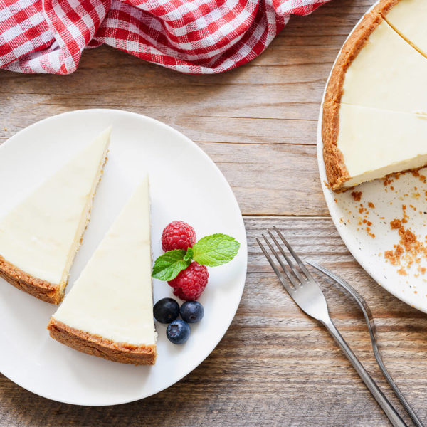 Classic cheesecake with a rich, dense, smooth, and creamy consistency