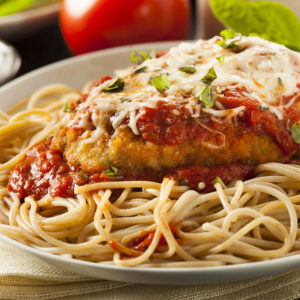 Breaded chicken breast, baked with marinara & mozzarella over linguini