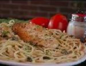 Capers, pinot grigio and lemon butter sauce over fettuccini