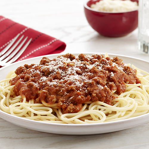 Linguini tossed with homemade meat sauce